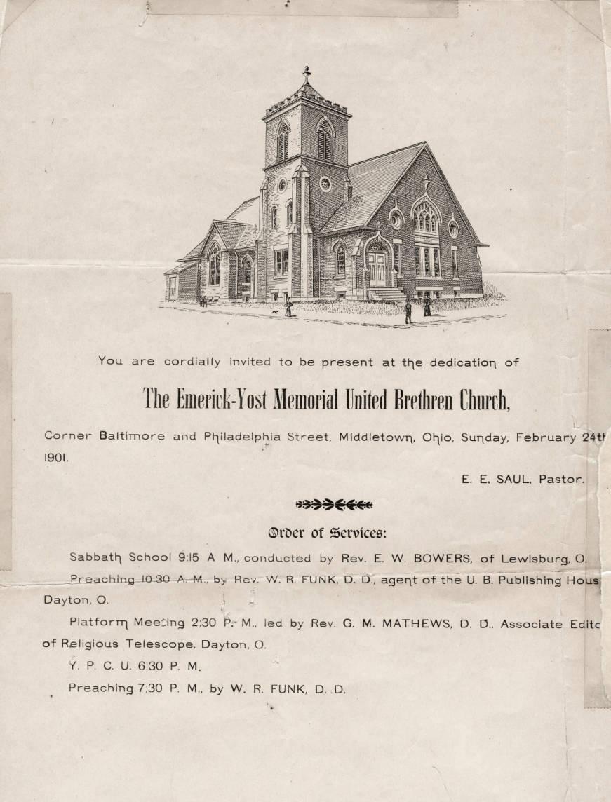 Invitation To A Church Dedication February 24 1901 Faith United
